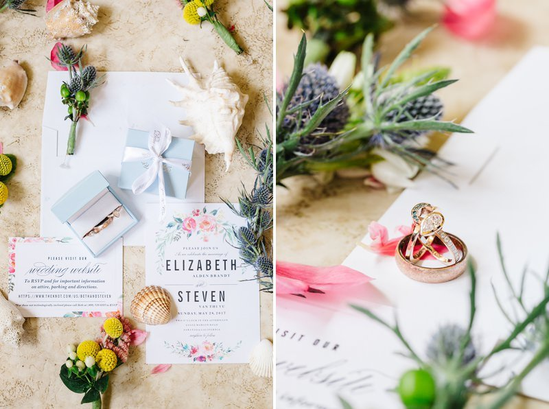 prepare wedding rings and a set of invitation card